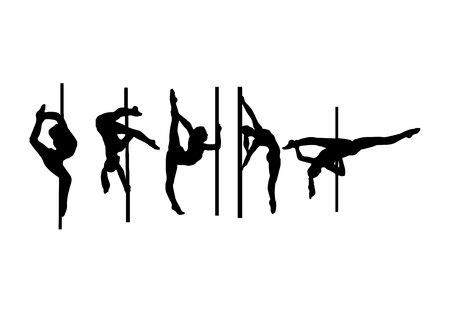 Femme pole dance pose silhouette noire isolé sur fond blanc