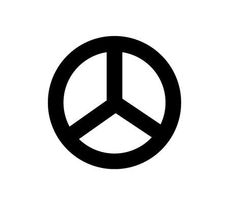 Black peace symbol on white background