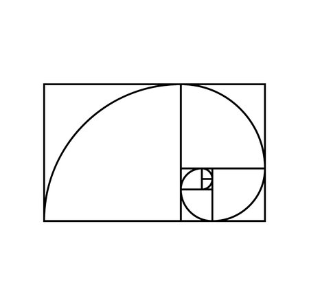 Golden ratio on white background 向量圖像