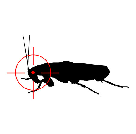 Cockroach red target logo design isolated on white background