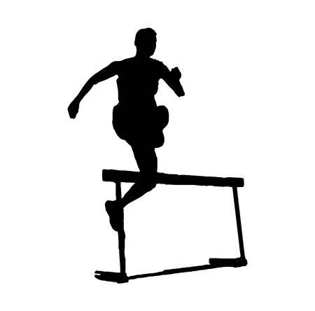 Person jumping an obstacle silhouette
