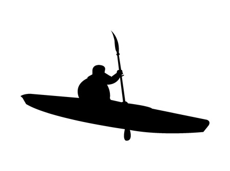 Black kayak silhouette on white background