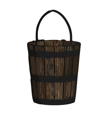 Wooden bucket on white background  イラスト・ベクター素材