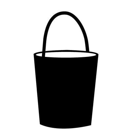 Black bucket silhouette isolated on white background