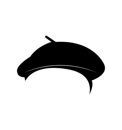 Black beret hat on white background