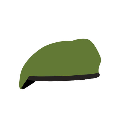 Green beret on white background