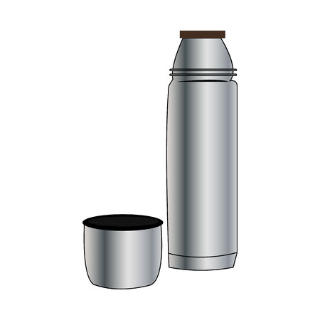 Metal thermos on white background