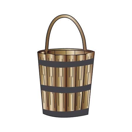 Wooden bucket on white background Ilustração