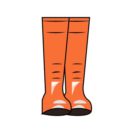 Orange rubber rain boots isolated on white background Illustration