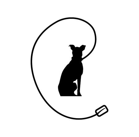Black dog on a leash logo isolated on white background Illustration