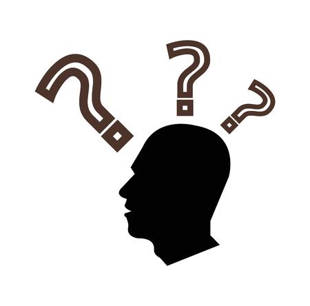 Homme pensant et questionnant signe sur fond blanc