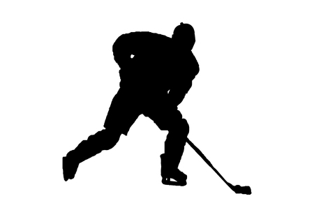 Black silhouette of ice hockey player on white background