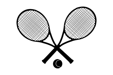 Crossed tennis rackets and ball logo