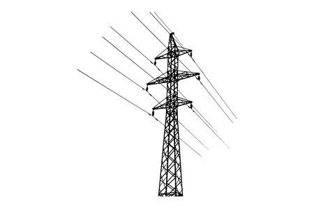 Electricity high voltage tower silhouette on white background