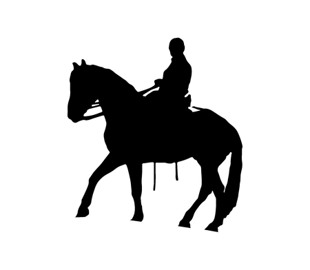 Horse rider black silhouette on white background