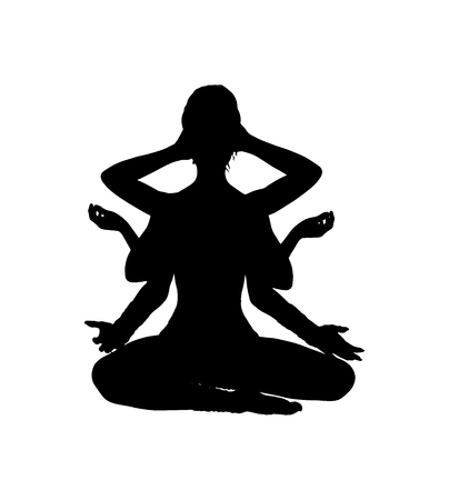 Shiva black silhouette on white background