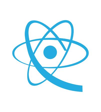 Icono de átomo azul sobre fondo blanco Ilustración de vector