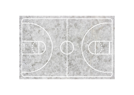 Concrete basketball court on white background Standard-Bild - 123382716