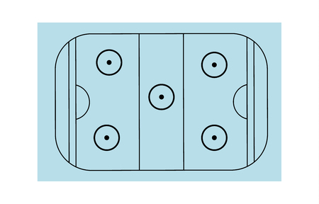 Ice hockey field on white background