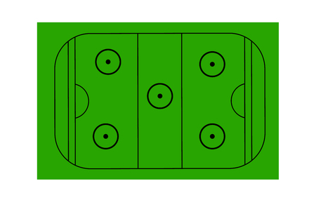 Land hockey field on white background