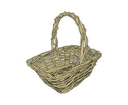 Wicker basket on white Ilustração