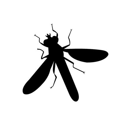Black wasp silhouette on white background Ilustracja