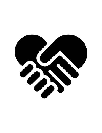 Heart shaped hand shake icon on white background Иллюстрация