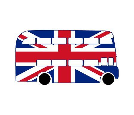 british flag double decker bus on white