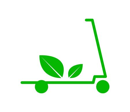 Green leaf scooter on white Stock Illustratie