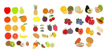 Set of fruit icons on white Stock Illustratie