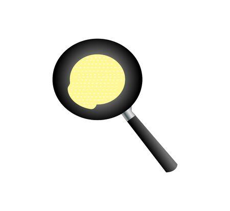 Pancake in frying pan on white