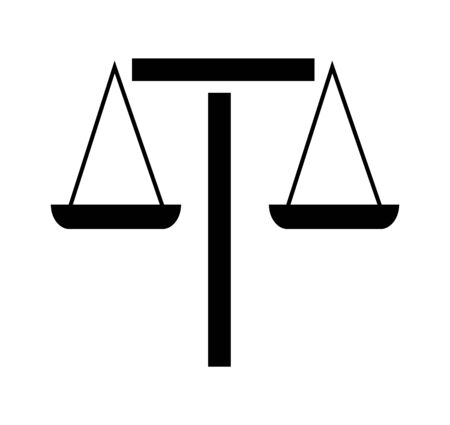 scales of justice on white