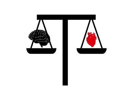heart and brain on a scale concept reason vs passion