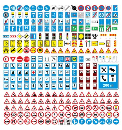 Traffic signs and symbols on white