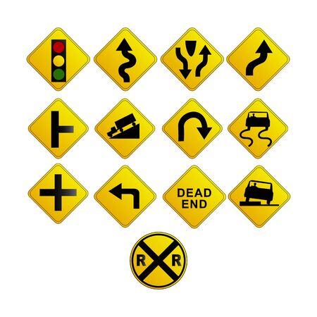 yellow road traffic signs on white