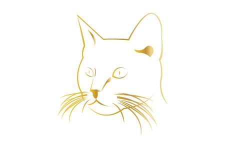 golden cat head on white Çizim