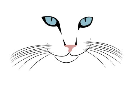 cat head with whiskers on white