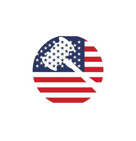 judge mallet on usa flag symbol on white