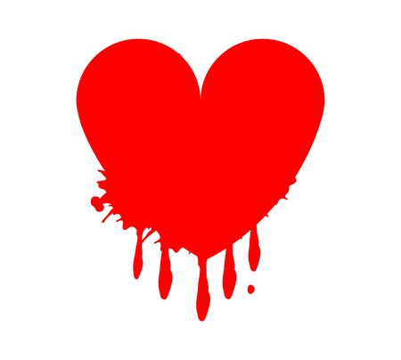 red bloody heart icon on white