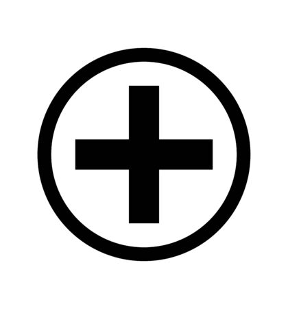 plus sign in circle on white