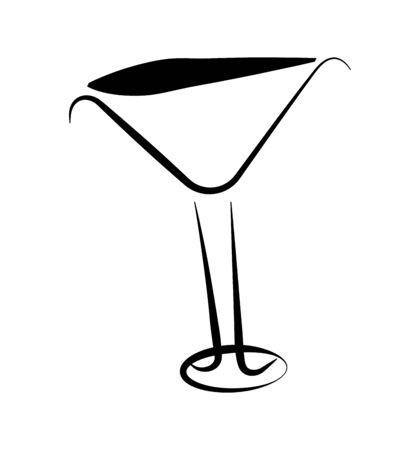 wine cocktail martini glass on white Çizim