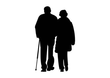 old couple silhouette on white