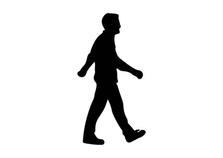 man walking silhouette on white