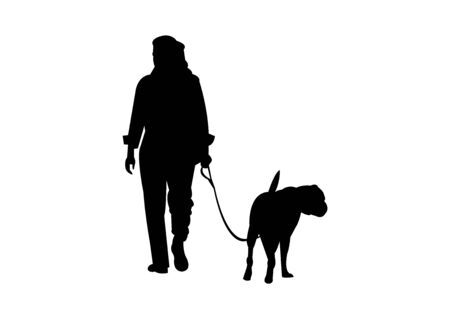 Woman walking a dog silhouette on white Illustration
