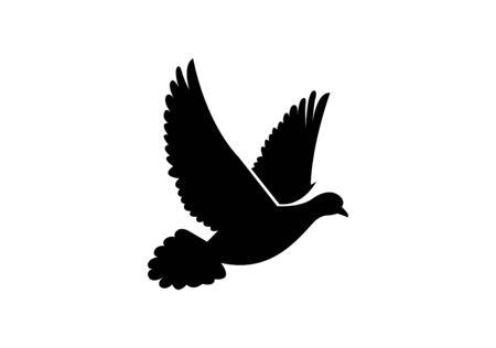 black dove silhouette on white Ilustracja
