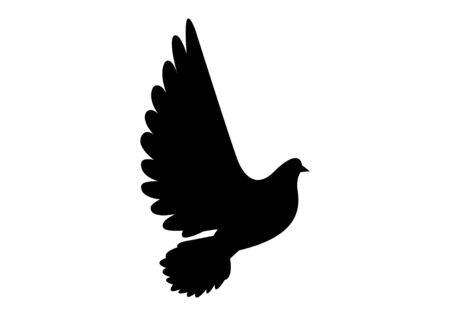 black dove icon on white