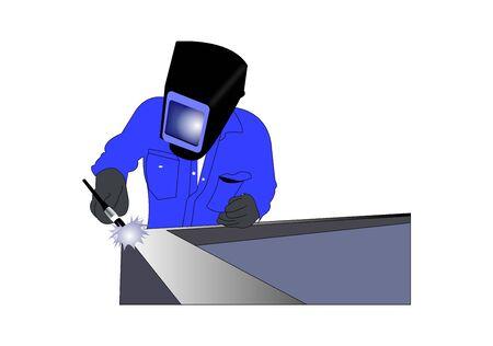 welder worker on white background