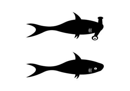two sharks on white