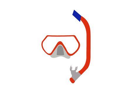 scuba diving mask on white Ilustrace