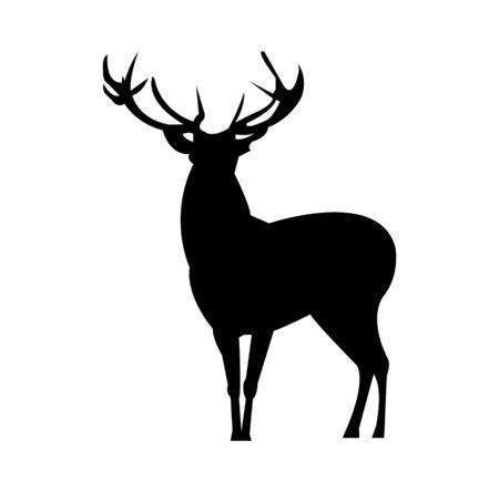 Silhouette de cerf mâle adulte sur blanc